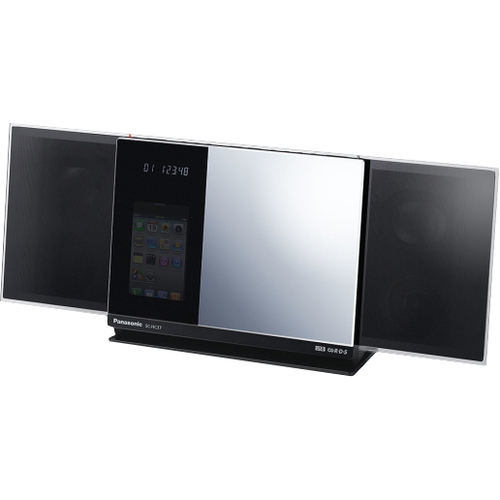 Panasonic SC-HC37 Micro Hi-Fi System - 40 W RMS - iPod Supported - Stainless-steel Mesh