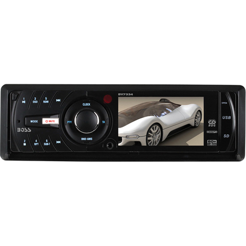 "Boss Audio BV7334 Car DVD Player - 3.2"" LCD Display - 960 x 240 - 320 W RMS - iPod/iPhone Compatible - In-dash - Single DIN"