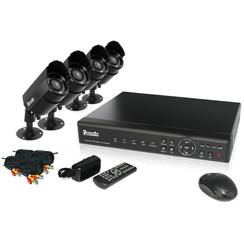 Zmodo PKD-DK40107-500GB 4 Channel CCTV Security DVR Day Night Weatherproof Camera System with 500 GB HD