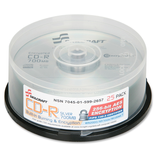 SKILCRAFT CD Recordable Media - CD-R - 52x - 700 MB - 25 Pack Spindle