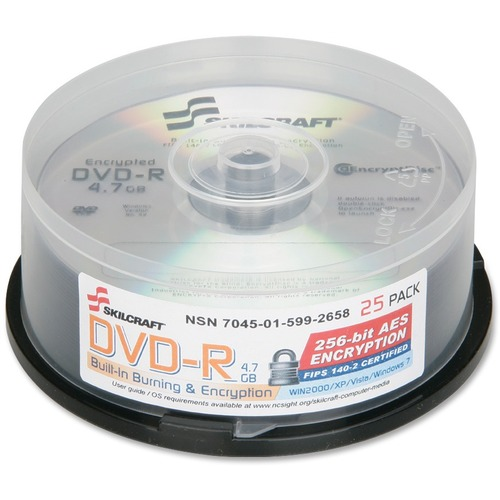 SKILCRAFT DVD Recordable Media - DVD-R - 8x - 4.70 GB - 25 Pack Spindle