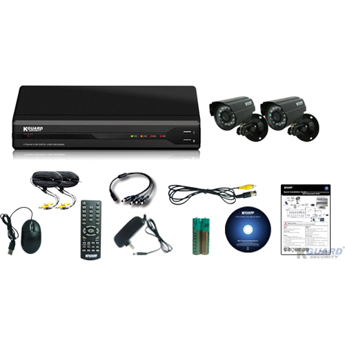 KWorld All-in-One Surveillance Combo Kit - 4CH H.264 DVR with 2 CMOS Cameras