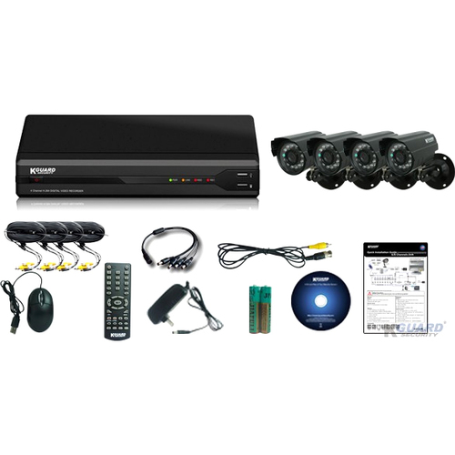 KWorld All-in-One Surveillance Combo Kit - 4CH H.264 DVR with 4 CMOS Cameras