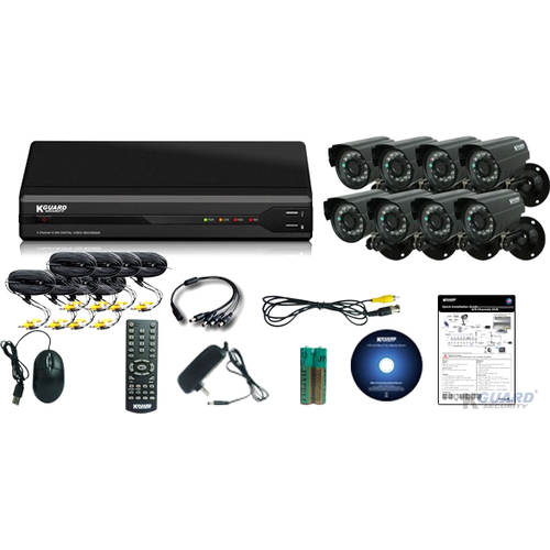 KWorld All-in-One Surveillance Combo Kit - 8CH H.264 DVR with 8 CMOS Cameras