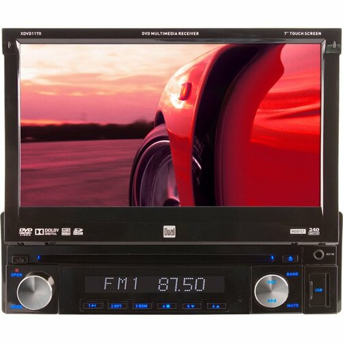 "Dual Electronics XDVD1170 Car DVD Player - 7"" Touchscreen LCD Display - 800 x 480 - 72 W RMS - iPod/iPhone Compatible - In-dash -"
