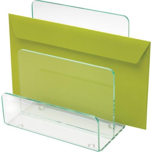 Lorell Acrylic Transp. Green Edge Mini File Sorter   by Plexsupply
