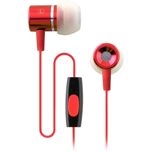 Coby Stereo Earphones with Mic for Smartphone - Red