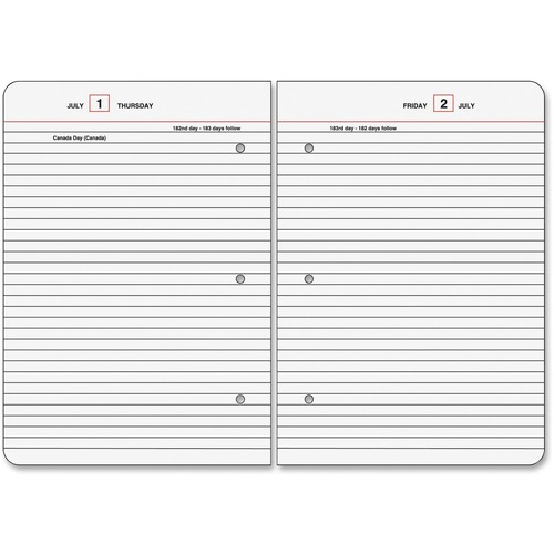 At-A-Glance Standard Diary Loose-Leaf Daily Diary Refill for SD882