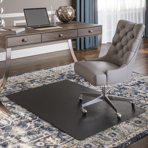 Deflecto Black Rectangular Smooth Edge Chairmats | by Plexsupply