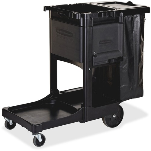 Executive Janitorial Cleaning Cart, 12.1w x 22.4d x 23h, Black | by Plexsupply