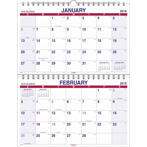 aag pmlf928 at a glance 2 month view vertical wall calendar aagpmlf928