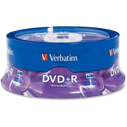 Verbatim 95033 DVD Recordable Media | DVD+R | 16x | 4.70 GB | 25 Pack Spindle
