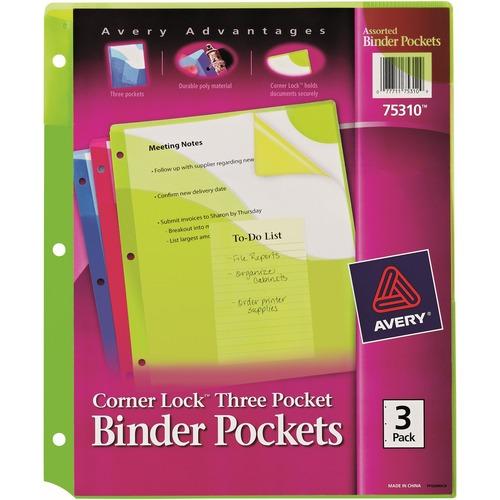 Avery Corner Lock Three Pocket Binder Pockets   by Plexsupply