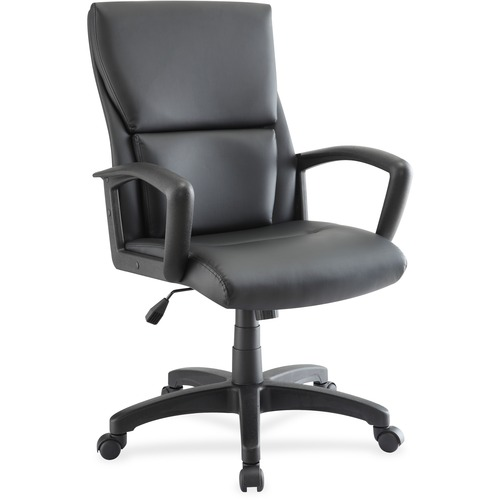 Lorell Euro Design Leather Exec. Mid-back Chair | by Plexsupply