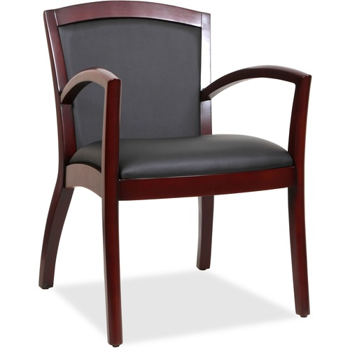 Lorell Arched Arms Wood Guest Chair | by Plexsupply