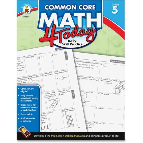 Carson-Dellosa Common Core Math 4 Today Workbook Education Printed Book for Mathematics - English
