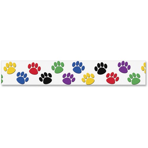 Teacher Created Res. Pawprint Colorful Board Trim | by Plexsupply