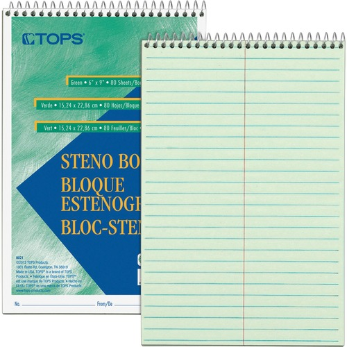 Tops Green Tint Steno Books | by Plexsupply