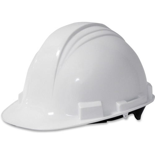 A-Safe Peak Hard Hat, White, Rain Trough | by Plexsupply