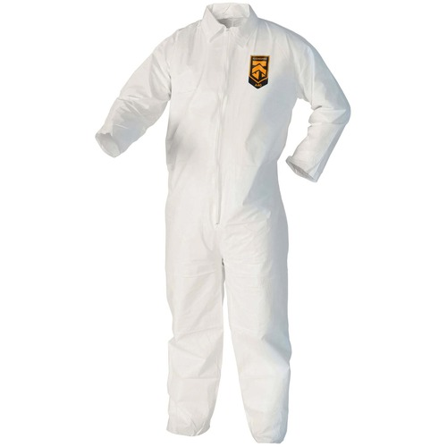 A40 Coveralls, White, Large, 25/Case | by Plexsupply