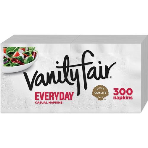 Vanity Fair Everyday Dinner Napkins, 2-Ply, White, 300/Pack | by Plexsupply
