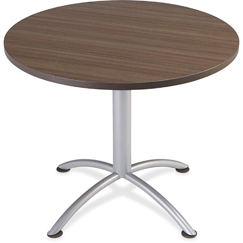 "iLand Table, Contour, Round Seated Style, 36"" dia. x 29"", Natural Teak/Silver 
