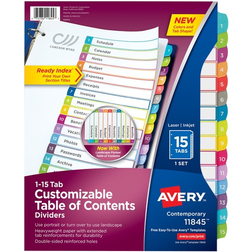 Avery Ready Index Customizable Table Of Contents Contemporary