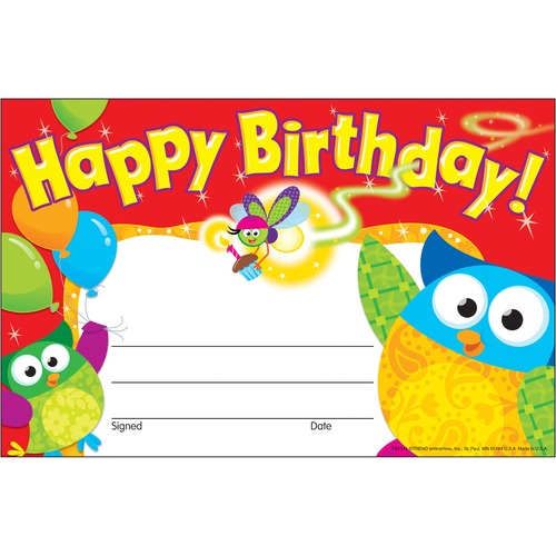 Trend Happy Birthday Owl-Stars Recognition Awards | by Plexsupply