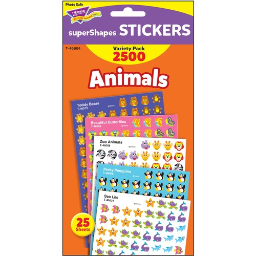 Trend Animals SuperShapes Stickers Variety Pack | by Plexsupply