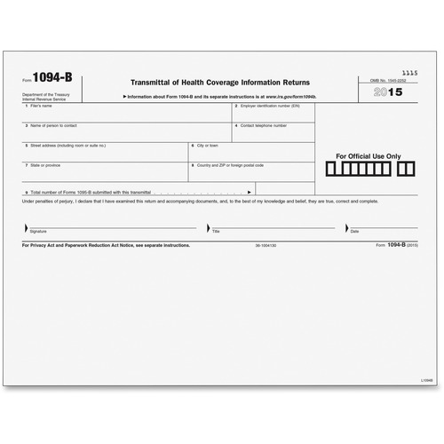 Tops 1094B Transmittal Tax Form | by Plexsupply