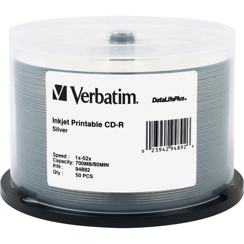 Verbatim CD-R 700MB 52X DataLifePlus Silver Inkjet Printable - 50pk Spindle