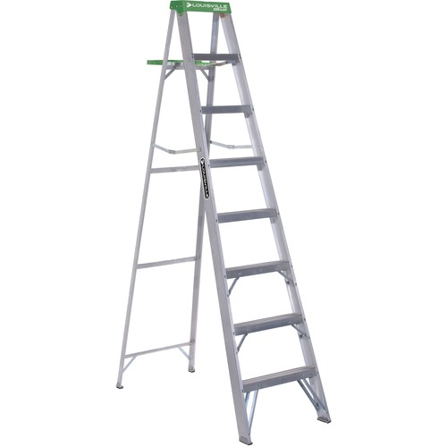 Aluminum Step Ladder, 8 ft Working Height, 225 lbs Capacity, 7 Step, Aluminum/Green | by Plexsupply