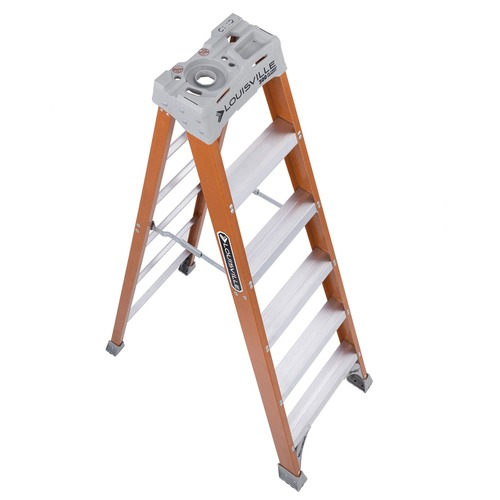 "Fiberglass Heavy Duty Step Ladder, 45"" Working Height, 300 lbs Capacity, 5 Step, Orange 