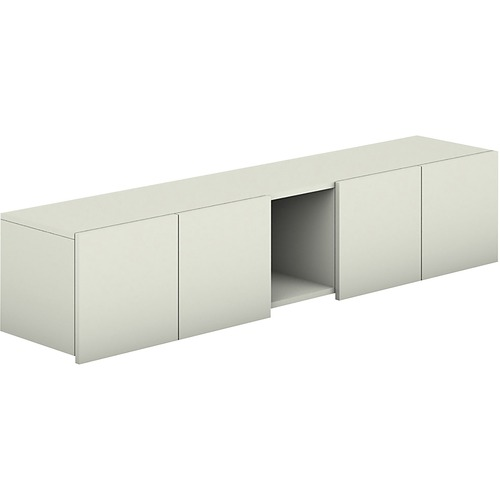 Voi Overhead Cabinet, Four Doors/One Cubby, 72w x 14.25d x 14h, Brilliant White