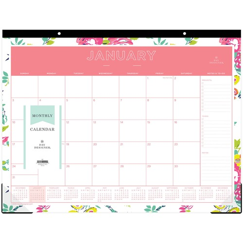 picture regarding Day Designer Target called Blue Sky Working day Designer Floral Table Pad Focus Business Solutions