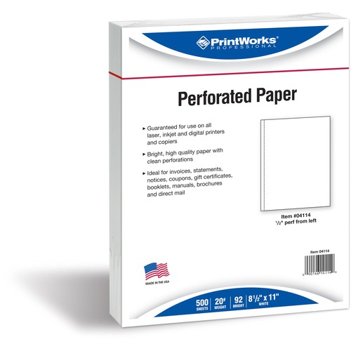 Paris Bus. Prod. Printworks 20 lb Perforated Paper | by Plexsupply