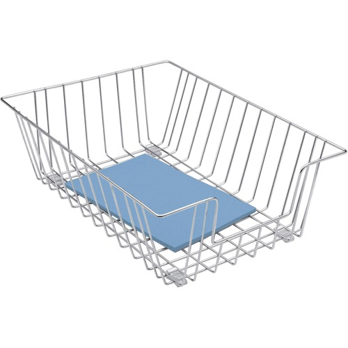 """Wire Desk Tray Organizer, 1 Section, Legal Size Files, 12"""" x 16.5"""" x 5"""", Silver 