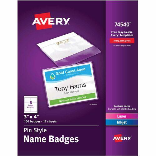 Avery Laser/Inkjet Pin Style Name Badge Kit