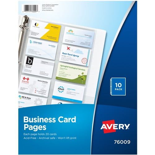 Avery Untabbed Business Card Pages