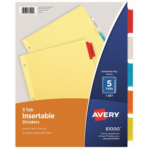 Avery 3-Hole 5-Tab Dividers | by Plexsupply
