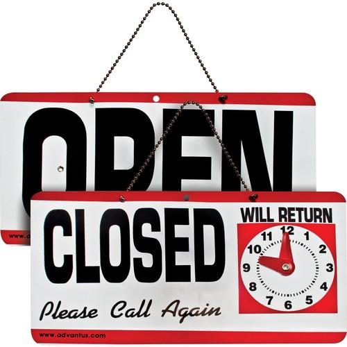 Advantus Open/Closed Sign w/Clock | by Plexsupply