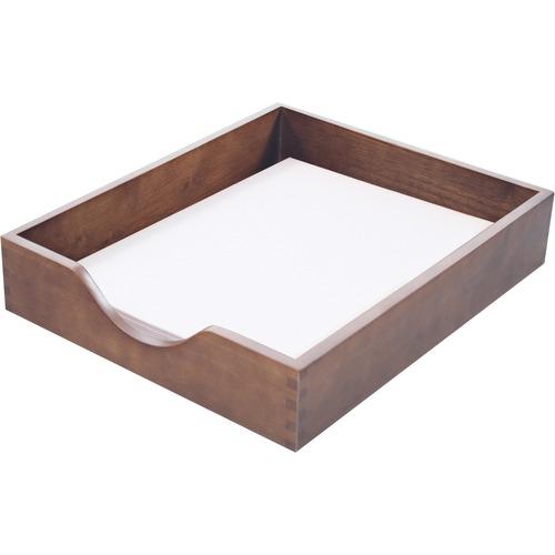 Carver Walnut Finish Solid Wood Desk Trays | by Plexsupply