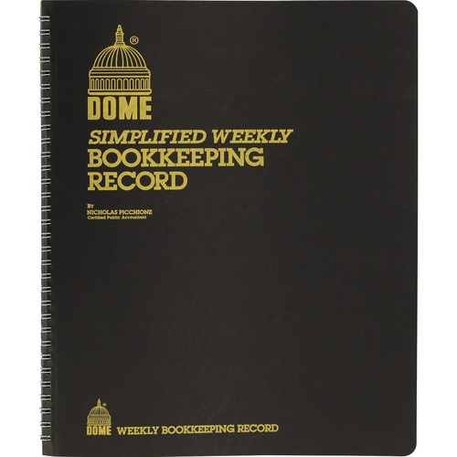 Simplified Weekly Bookkeeping Record, Brown Vinyl Cover, 128 Pages, 8 1/2 x 11 | by Plexsupply