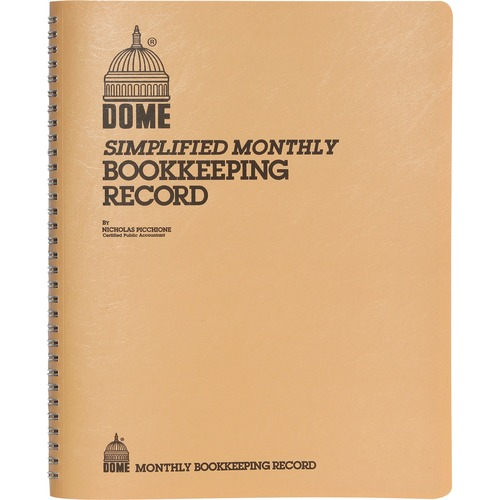 Simplified Monthly Bookkeeping Record, Tan Vinyl Cover, 128 Pages, 8 1/2 x 11 | by Plexsupply