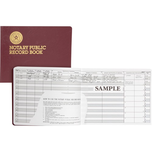 Notary Public Record, Burgundy Cover, 60 Pages, 8 1/2 x 10 1/2 | by Plexsupply