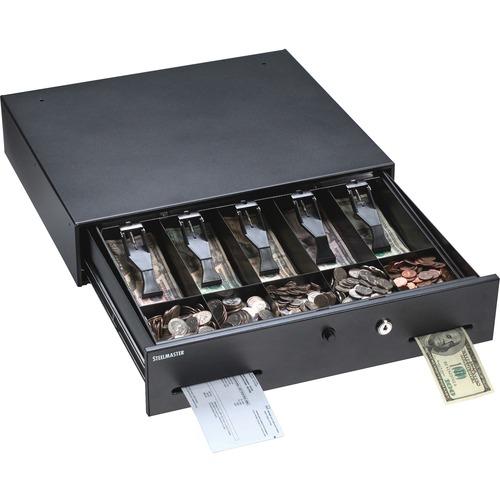 Alarm Alert Steel Cash Drawer w/Key & Push-Button Release Lock, Black | by Plexsupply