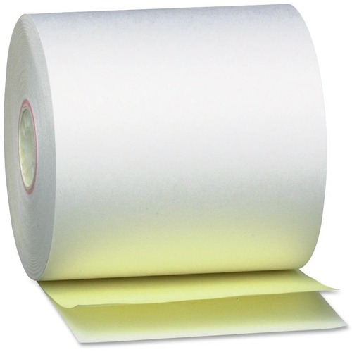 "Impact Printing Carbonless Paper Rolls, 0.69"" Core, 3.25"" x 80 ft, White/Canary, 60/Carton 