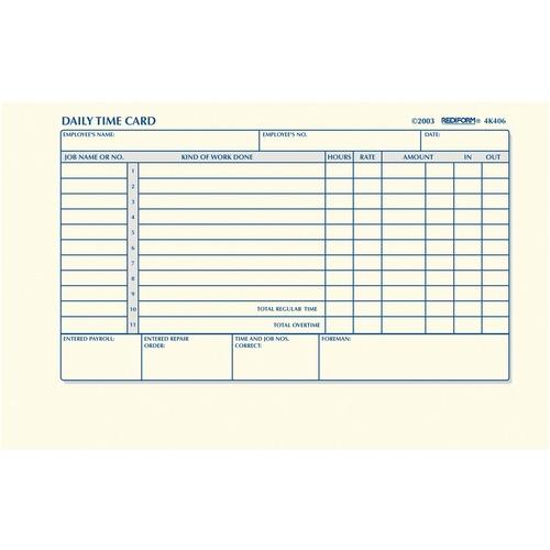 Rediform Time Clock Cards