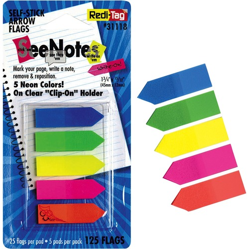 Redi-Tag Plain Write-on Arrow Flags in Holder | by Plexsupply