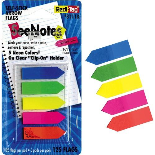 Redi-Tag Plain Write-on Arrow Flags in Holder | by Plexsupply